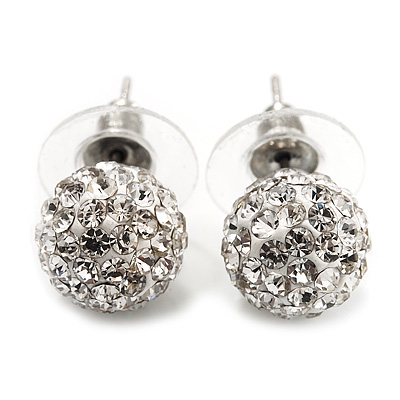 Clear Crystal Ball Stud Earrings In Silver Plated Finish - 9mm Diameter