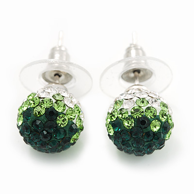 Emerald Green/Grass Green/Clear Swarovski Crystal Ball Stud Earrings In Silver Plated Finish -10mm Diameter