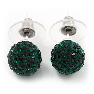Emerald Green Swarovski Crystal Ball Stud Earrings In Silver Plated Finish - 9mm Diameter - main view