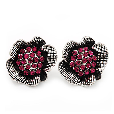 Fuchsia Crystal Textured Flower Stud Earrings In Burn Silver Finish - 2cm Diameter