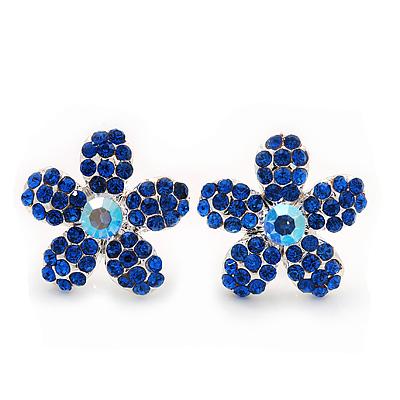 Blue Crystal 'Daisy' Floral Stud Earrings In Silver Metal - 15mm Diameter