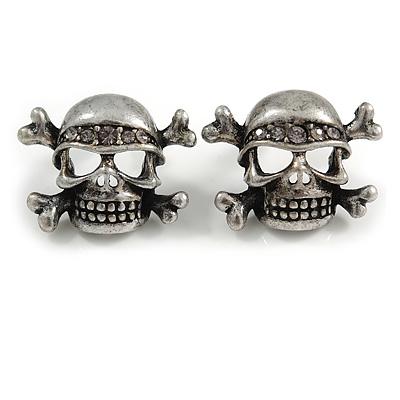 Burn Silver Diamante 'Skull & Crossbones' Stud Earrings - 23mm Length