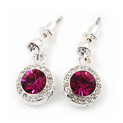 Round Fuchsia/Clear Crystal Stud Earring In Silver Metal - 2cm Drop