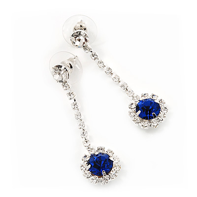 Clear/Royal Blue Crystal Drop Earrings In Silver Finish - 4.5cm Length