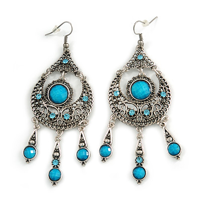 Burn Silver Blue Crystal Chandelier Earrings - 9cm Drop