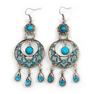 Burn Silver Turquoise Coloured Enamel Crystal Chandelier Earrings - 9cm Drop