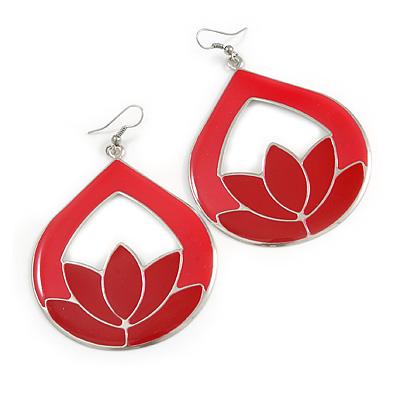 Red Enamel Teardrop Hoop Earrings In Silver Finish - 8cm Length