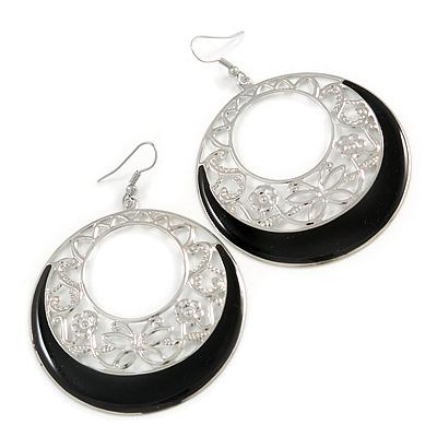 Silver Tone Black Enamel Cut Out Hoop Earrings - 7.5cm Drop