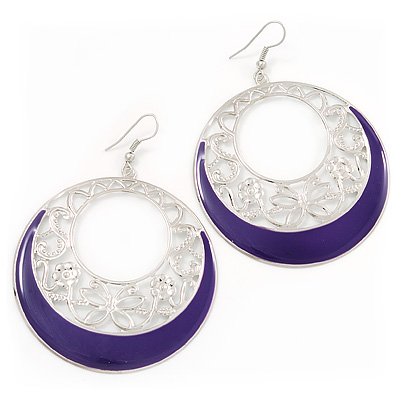 Silver Tone Purple Enamel Cut Out Hoop Earrings - 7.5cm Drop