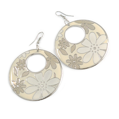 Milky-White Enamel Floral Round Drop Earrings In Silver Finish - 7.5cm Length