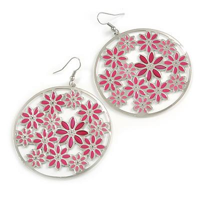 Silver Plated Pink Enamel Floral Hoop Earrings - 7.5cm Length