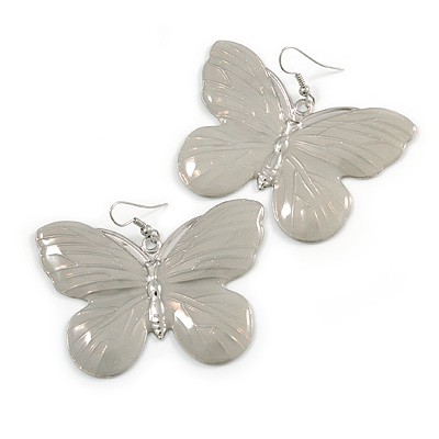 Large Light Grey Enamel 'Butterfly' Drop Earrings In Silver Finish - 5cm Length