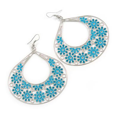 Large Teardrop Teal Coloured Enamel Floral Hoop Earrings In Silver Finish - 8cm Length
