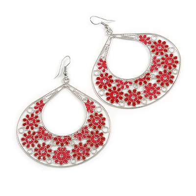 Large Teardrop Red Enamel Floral Hoop Earrings In Silver Finish - 8cm Length
