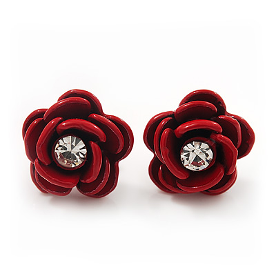 Small Red Enamel Diamante 'Rose' Stud Earrings In Silver Finish - 10mm Diameter - main view