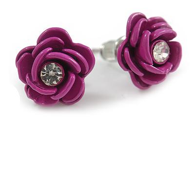 Small Deep Pink Enamel Diamante 'Rose' Stud Earrings In Silver Finish - 10mm Diameter