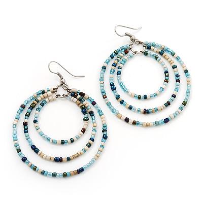 Light Blue Glass Bead Hoop Earrings In Silver Finish - 6.5cm Length