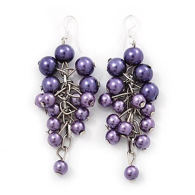 Purple Faux Pearl Cluster Drop Earrings In Silver Finish - 7cm Length - main view