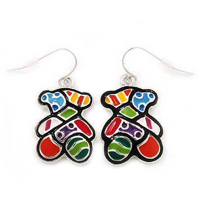 Funky Multicoloured Enamel 'Bear' Drop Earrings In Silver Tone Metal - 3.5cm Length