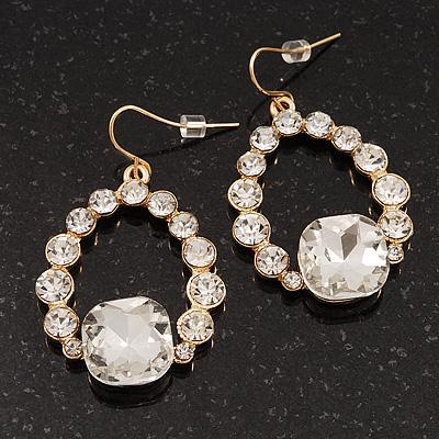 Bridal Clear Glass Open Teardrop Gold Tone Earrings - 4cm Drop