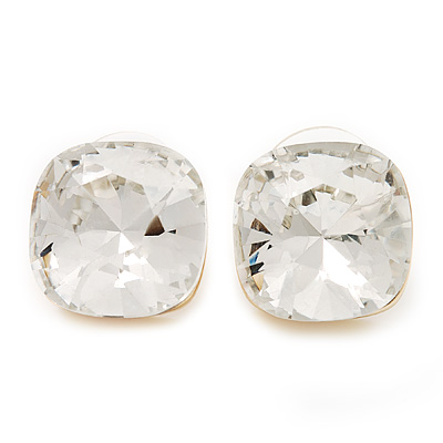 Square Clear Glass Stud Earrings In Gold Finish - 15mm In Diameter