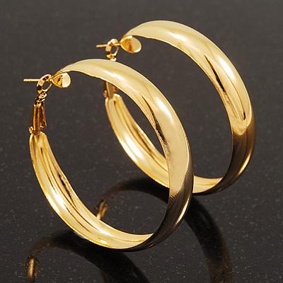 Gold Plated Hoop Earrings - 5cm Diameter