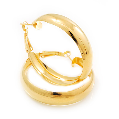 Gold Plated Hoop Earrings - 4cm Diameter