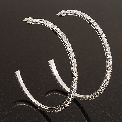Large Slim Clear Diamante Hoop Earrings In Silver Plating - 6.5cm Diameter