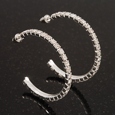 Classic Slim Clear Diamante Hoop Earrings In Silver Plating - 4cm Diameter