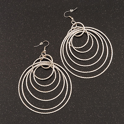 Oversized Silver Plated Textured Hoop Earrings - 10cm Length
