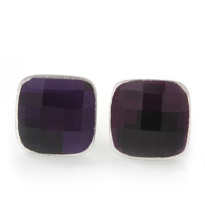 Deep Purple Square Glass Stud Earrings In Silver Plating - 10mm Diameter
