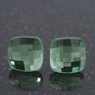 Light Green Square Glass Stud Earrings In Silver Plating - 10mm Diameter