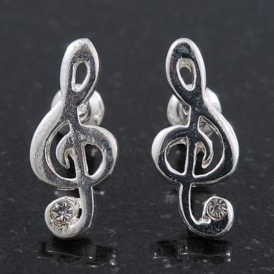 Small 'Treble Clef' Stud Earrings In Silver Tone Metal - 18mm Length