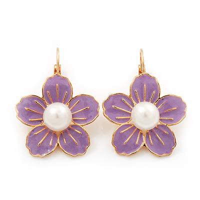 Lilac Enamel Faux Pearl 'Daisy' Drop Earrings In Gold Plating - 4cm Diameter