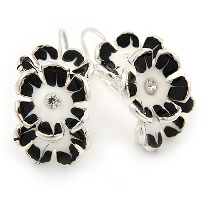 C-Shape White/ Black Enamel Floral Earrings In Silver Tone With Leverback Closure - 30mm L