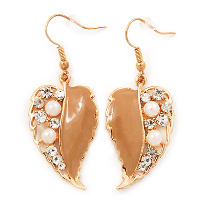 Gold Plated Beige Enamel Crystal & Simulated Pearl 'Leaf' Drop Earrings - 5cm Length - main view