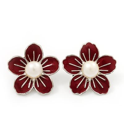 Red Enamel Faux Pearl 'Daisy' Stud Earrings In Silver Plating - 3cm Diameter