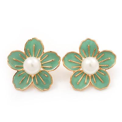 Lime Enamel Faux Pearl 'Daisy' Stud Earrings In Gold Plating - 3cm Diameter