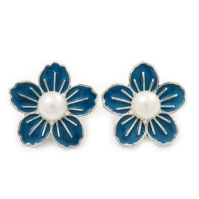 Sky Blue Enamel Faux Pearl 'Daisy' Stud Earrings In Silver Plating - 3cm Diameter