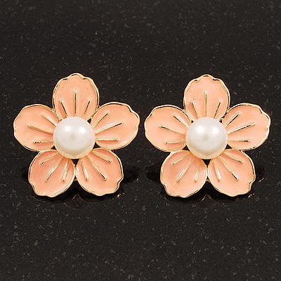 Peach Enamel Faux Pearl 'Daisy' Stud Earrings In Gold Plating - 3cm Diameter