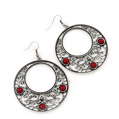 Burn Silver Filigree Hoop Earrings With Red Stone - 6.5cm Drop