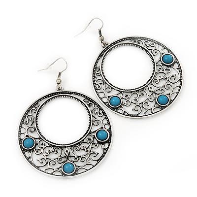 Burn Silver Filigree Hoop Earrings With Light Blue Stone - 6.5cm Drop - main view