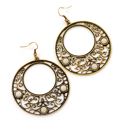 Burn Gold Filigree Hoop Earrings With White Stone - 6.5cm Drop