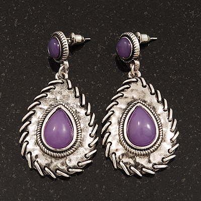 Burn Silver Teardrop Purple Resin Stone Drop Earrings - 5cm Length