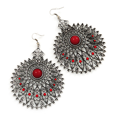 Large Filigree Red Diamante Chandelier Earrings In Burn Silver Metal - 9.5cm Length/ 6.5cm Diameter