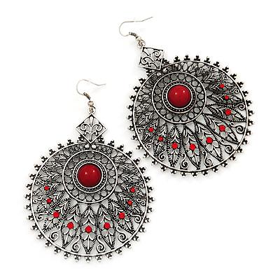 Large Filigree Red Diamante Chandelier Earrings In Burn Silver Metal - 9.5cm Length/ 6.5cm Diameter