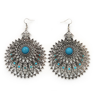 Large Filigree Sky Blue Diamante Chandelier Earrings In Burn Silver Metal - 9.5cm Length/ 6.5cm Diameter - main view