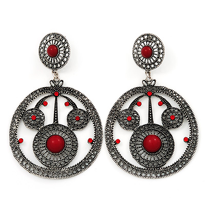 Large Burn Silver Hoop Earrings With Red Acrylic Stone - 9cm Drop/6cm Diameter