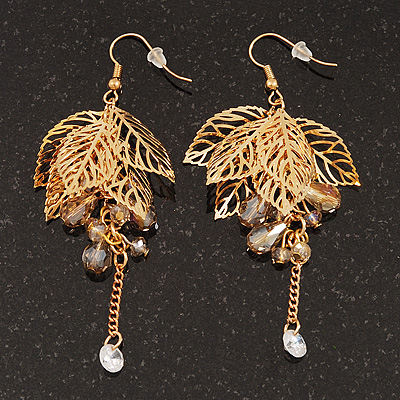 Gold Plated Leaves & Crystals Dangle Earrings - 8cm Length