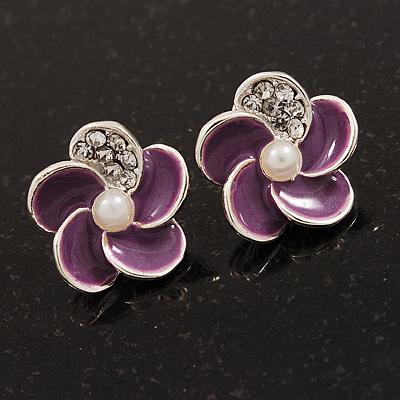 Small Purple Enamel Diamante 'Flower' Stud Earrings In Silver Finish - 15mm Diameter